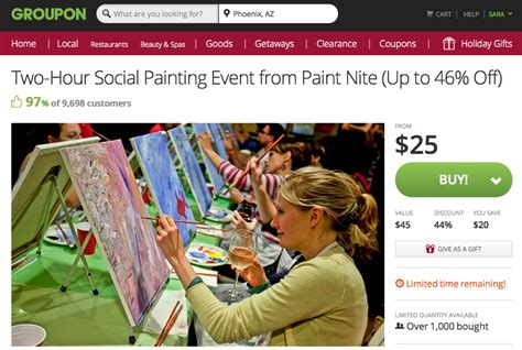 paint nite groupon westchester paint out gift idea