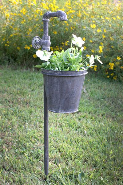 Primitive Home Decor Coupon Code faucet metal garden stake with planter outdoor decor