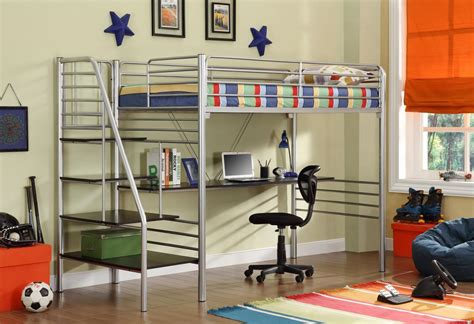 metal bunk bed with desk donco silver metal bunk beds with desk and stairs kfs stores
