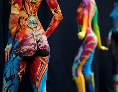 austria bodypainting festival 2016 a model poses during the world bodypainting festival in