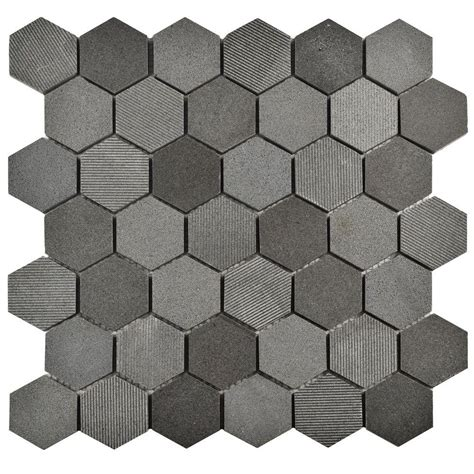 merola tile structure due hex black 11 3 4 in x 12 in x 8 mm natural lava stone mosaic tile