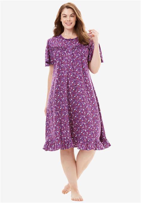 plus size cotton knit nightgowns cotton print nightgown by dreams co 174 plus size