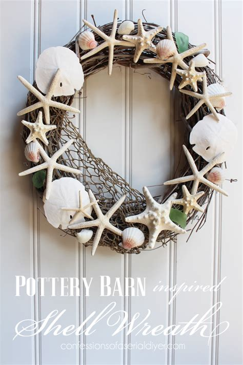 door wreaths pottery barn pottery barn inspired shell wreath confessions of a