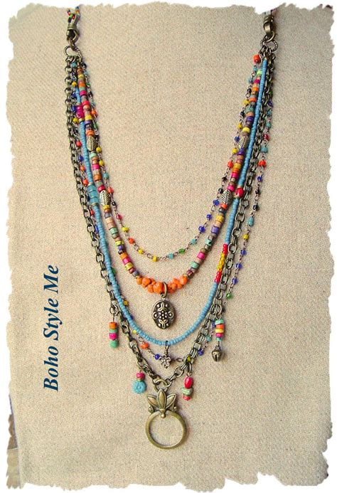 how to make hippie jewelry bohemian jewelry colorful layered beaded necklace modern
