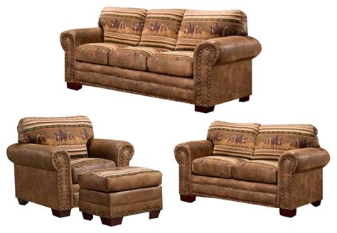 rustic living room furniture sets horses 4 set with sleeper rustic living