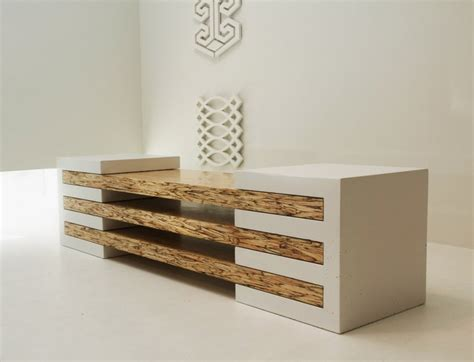 modern woodwork contemporary bench in concrete and wood combination