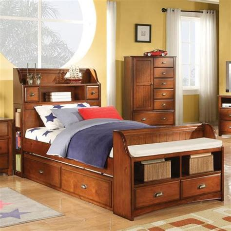trundle bed with bookcase headboard acme furniture brandon bed with trundle and bookcase