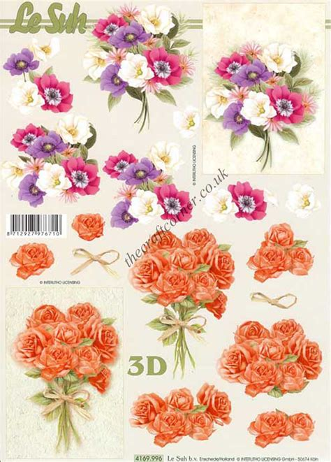 flower decoupage flower bouquet 3d decoupage sheet from le suh