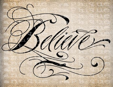 antique word believe fancy scroll script by antiquegraphique