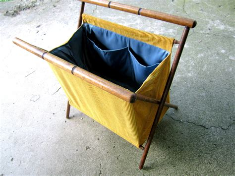folding knitting caddy knitting bag with stand vintage folding yarn caddy yellow