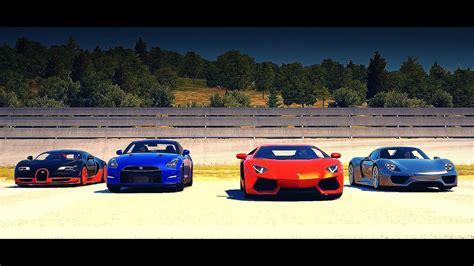 DRAG RACE! Bugatti Veyron SS vs Porsche 918 vs Lamborghini