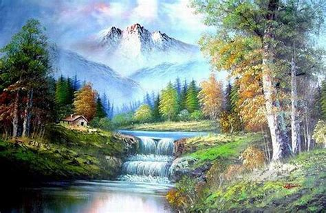 bob ross painting home in the valley cheap freehand 10 style of bob ross painting in