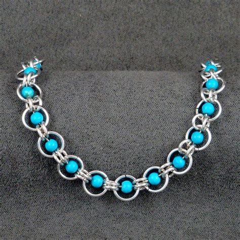 beaded chainmaille jewelry patterns turquoise beaded chainmaille bracelet cm020