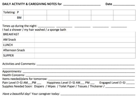 Behaviour Modification Chart For Elderly by Daily Notes For Caregivers With Free Printable Forms