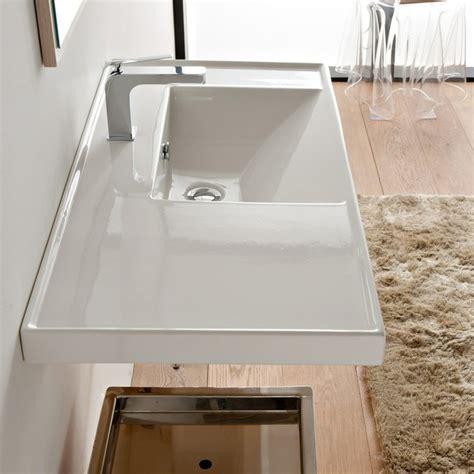 wall mounted kitchen sink large rectangular white ceramic self or wall