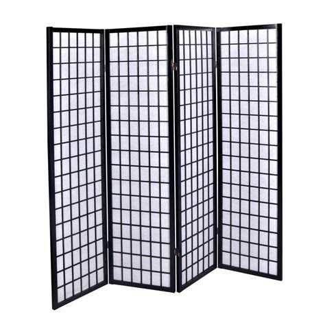 new black 4 panel room divider screen oriental style shoji