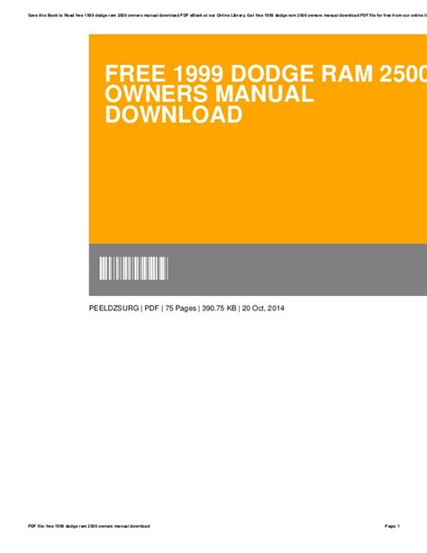 free car manuals to download 1999 dodge ram 2500 parking system service manual 1999 dodge charger service manual free download service manual free repair