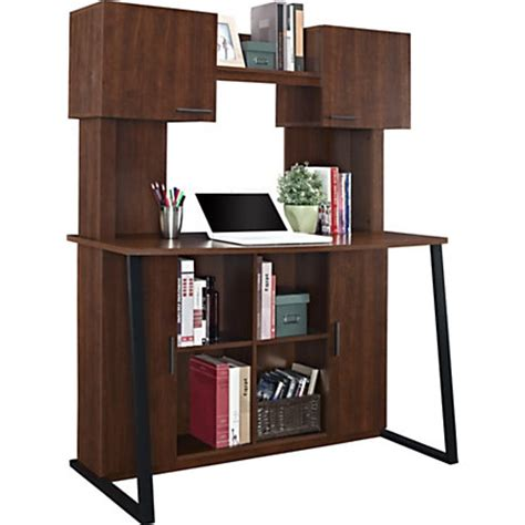 office depot desk with hutch altra wood computer desk with hutch cherry by office depot