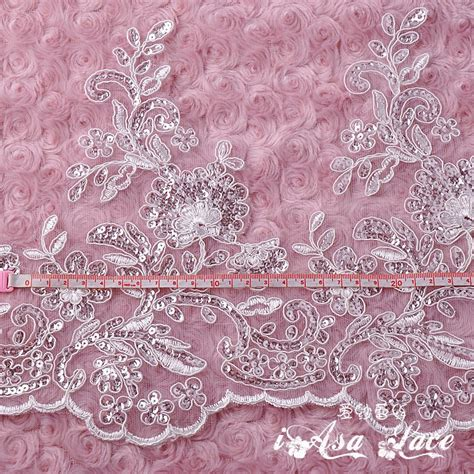 white beaded lace fabric 25cm wide beaded lace with sequin white sequin lace