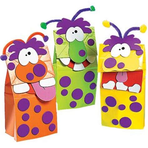 paper mashing craft mash puppet colored bags foam circles chenille