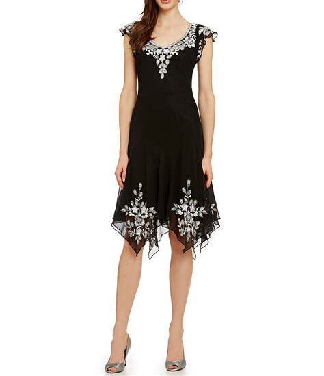 beaded sleeve dress jkara cap sleeve beaded dress dillards