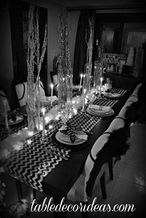 black and white theme chevron black and white theme table decor ideas
