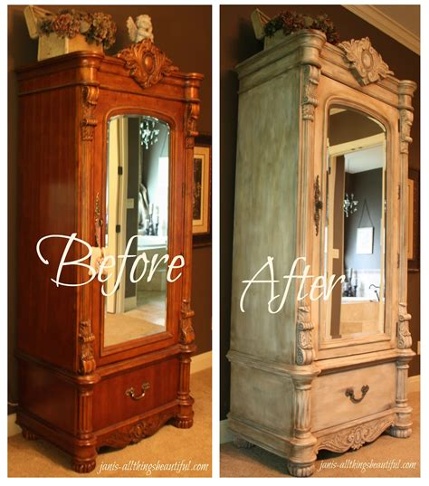 diy antique chalk paint all things beautiful armoire painted furniture makeover