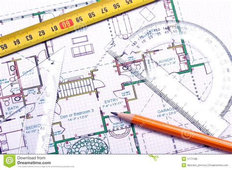 Blueprint Sketch floor plan and architect s tools royalty free stock photos