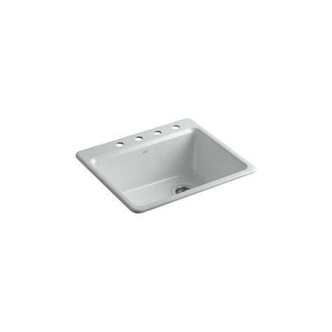 kitchen sink basin racks kohler riverby drop in cast iron 25 in 4 single