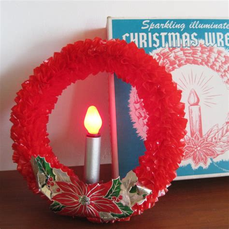 electric wreaths vintage 50s cellophane electrical light up