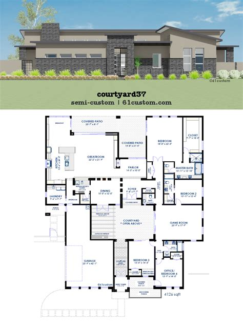 custom design house plans modern courtyard house plan 61custom contemporary modern house plans