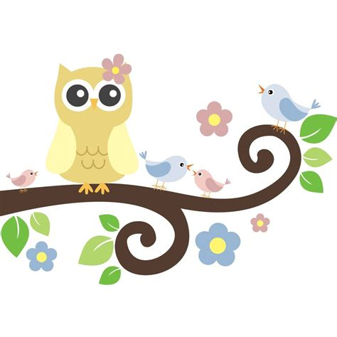 Tree Wall Mural Decal spring owl tree branch