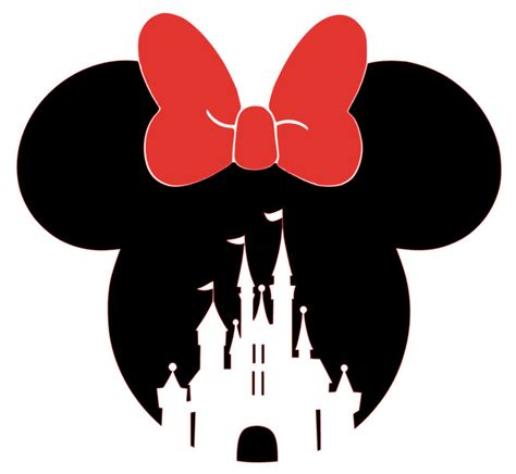 Minnie Mouse Wall Sticker minnie mouse head with bow and castle