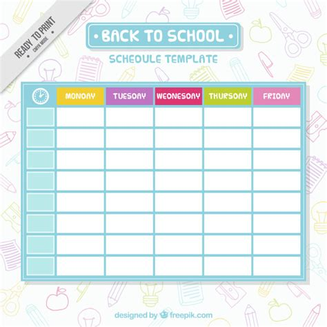simple schedule template vector free download