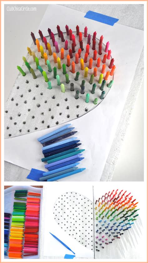 crayon crafts for faux rainbow crayon wall diy club chica circle
