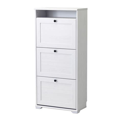 brusali cabinet brusali shoe cabinet with 3 compartments white ikea