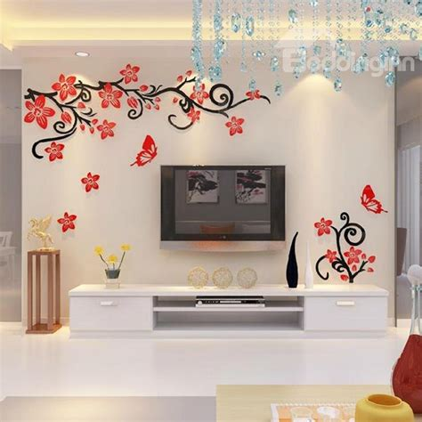 flower stickers for walls fabulous acrylic 3d flowers and vines tv wall bedroom 3d