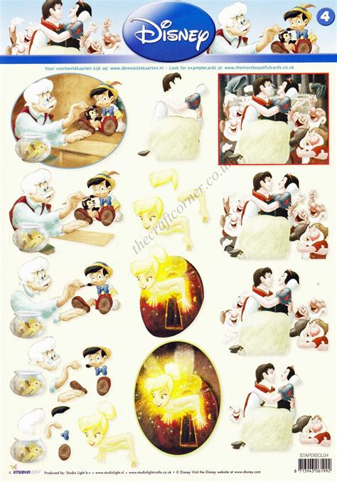 disney decoupage disney classic 4 snow white pinocchio and pan