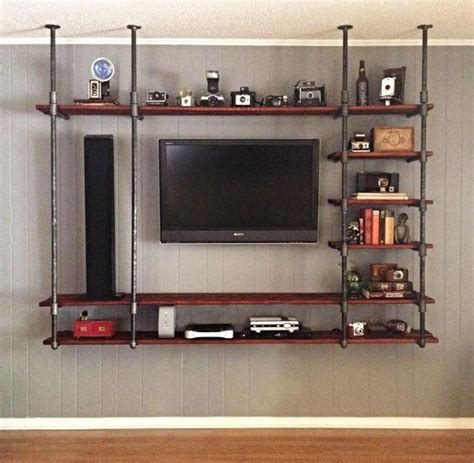 entertainment center shelves dyi industrial pipe entertainment center diy
