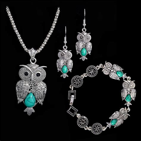 free jewelry free shipping jewelry set tibetan silver necklace owl