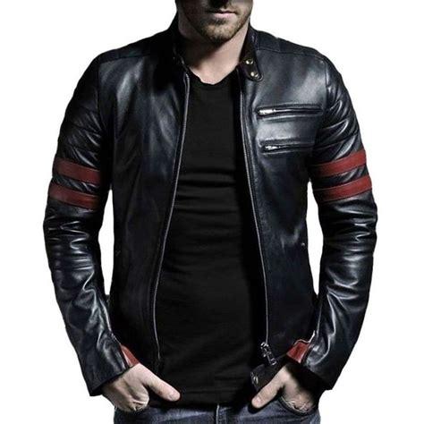 real leather jackets mens s stripe leather jacket genuine leather ebay