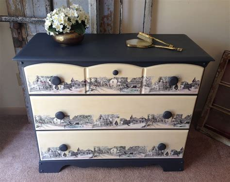 decoupage on wood furniture made vintage painted decoupaged 3 drawer dresser by