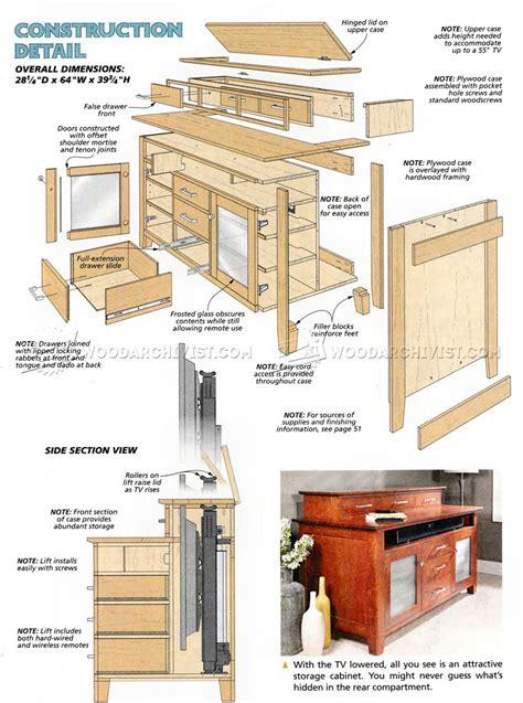 woodwork tv cabinet plans tv lift cabinet plans image mag