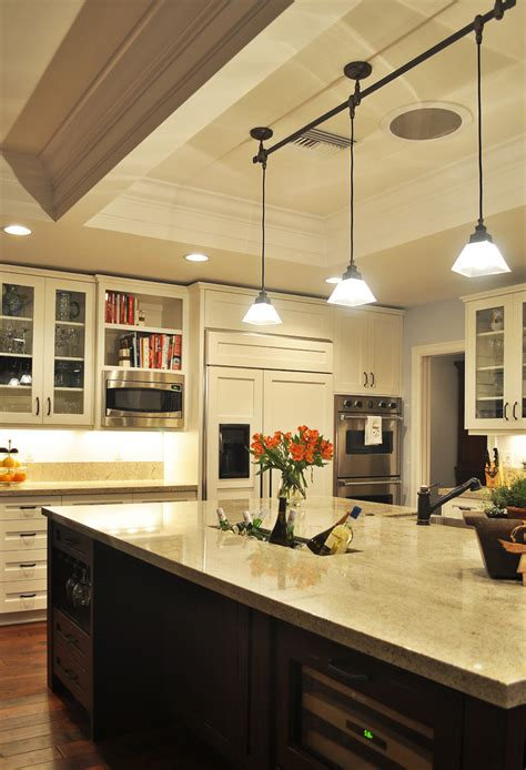 track light in kitchen pendant track lighting kitchen traditional with cabinet
