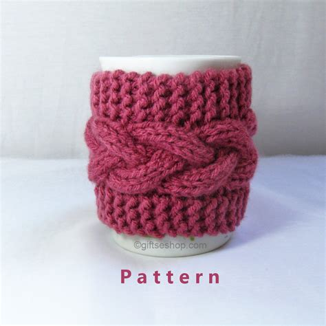 knitted mug cosy free pattern cabled cup cozy knitting pattern coffee mug cozy pattern pdf