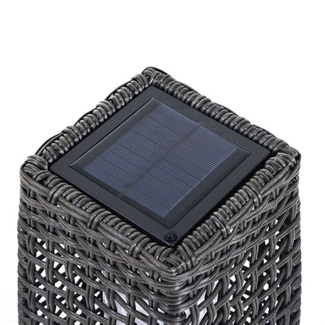 solar floor lights outsunny solar powered led l rattan wicker standing
