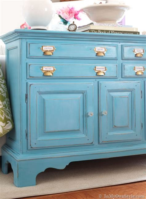 diy chalk paint and glaze before and after furniture makeover in turquoise in my