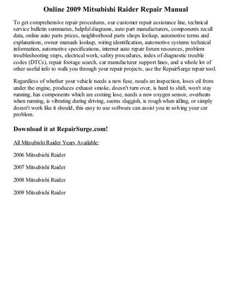 free online car repair manuals download 2008 mitsubishi eclipse windshield wipe control service manual free download 2009 mitsubishi raider service manual service manual mitsubishi