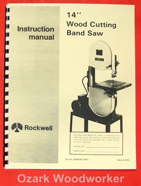 woodworking manual rockwell delta 14 quot hinged wood band saw part manual 0626