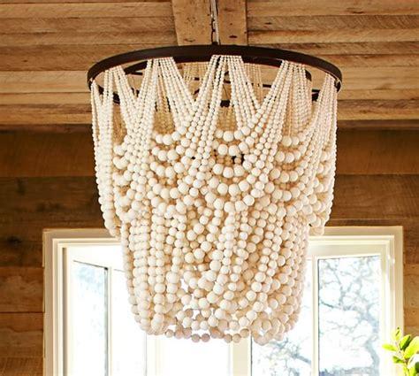 pottery barn beaded chandelier amelia indoor outdoor wood bead chandelier pottery barn